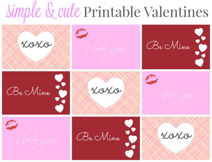 simple & cute printable valentines