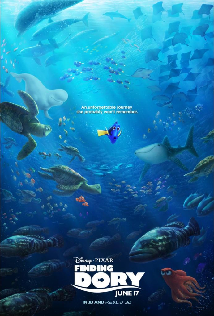 Finding Dory Movie Poster and Finding Dory Coloring Sheets