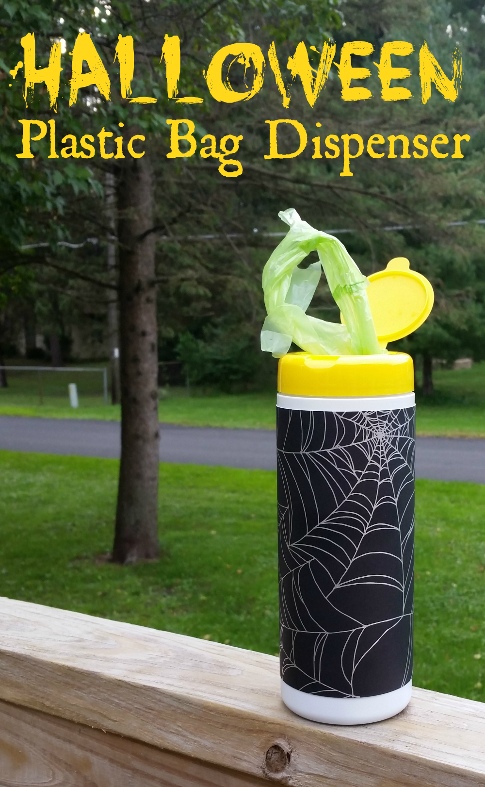 Diy Halloween Plastic Bag Dispenser Lysol Giveaway Outnumbered 3 To 1