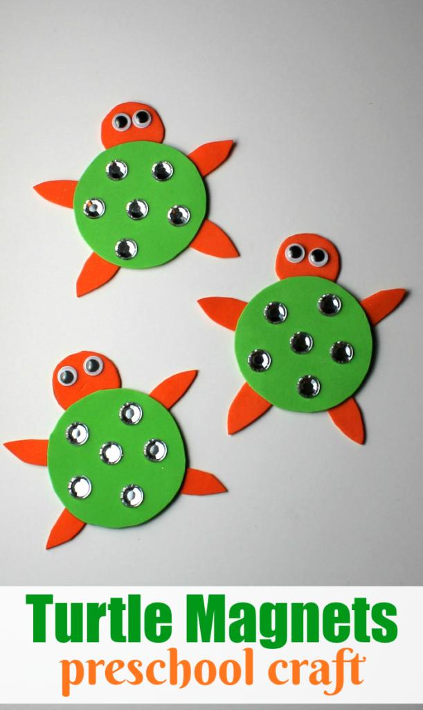 Turtle Magnets preschool craft