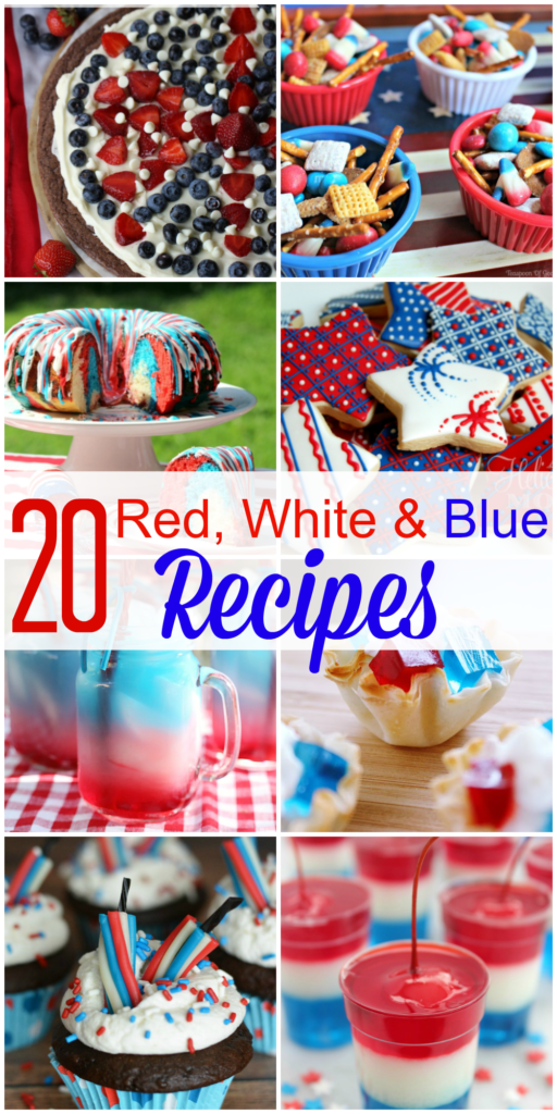 These 20 Red White & Blue Patriotic Recipes are perfect for your Memorial Day, 4th of July or Labor Day weekend parties and festivities!