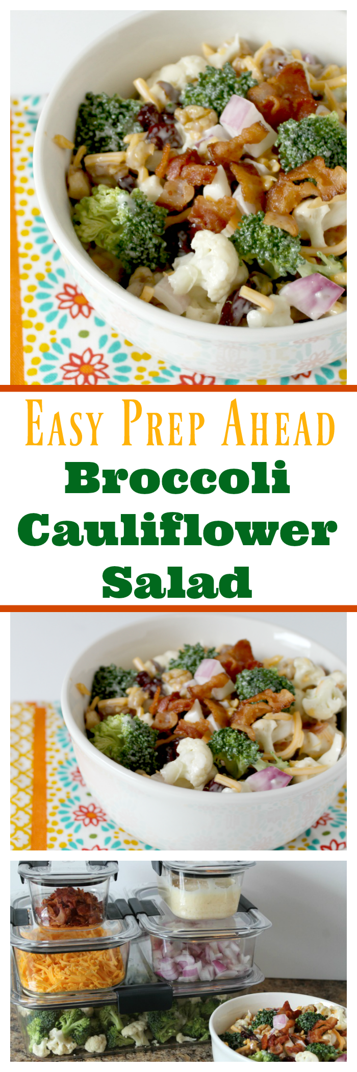 This Easy Prep Ahead Broccoli Cauliflower Salad is simply amazing and will be a HIT at your next gathering! Perfect for feeding a family or a crowd for potluck and barbecues!