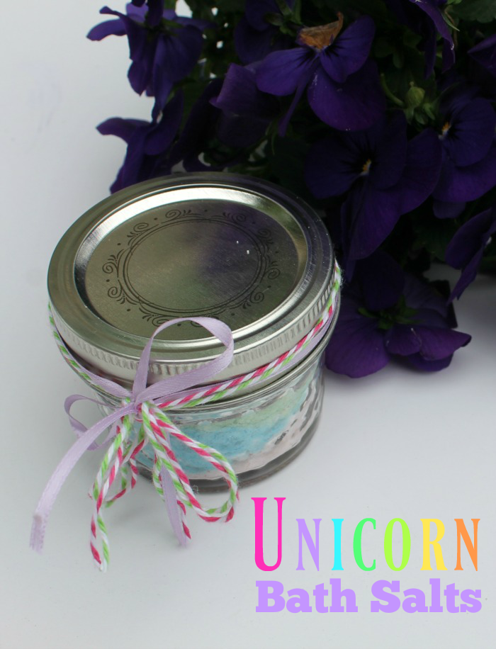 Unicorns are all the rage these days and these Unicorn Bath Salts are such an easy and festive DIY project, perfect for gift giving