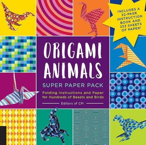Origami Animals Super Paper Pack by Editors of CPi Folding Instructions and Paper for Hundreds of Beasts and Birds--Includes a 32-page instruction book and 232 sheets of paper!
