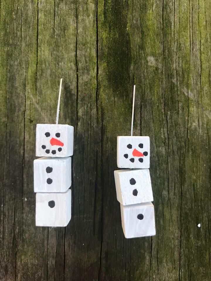 DIY Melted Snowmen Earrings