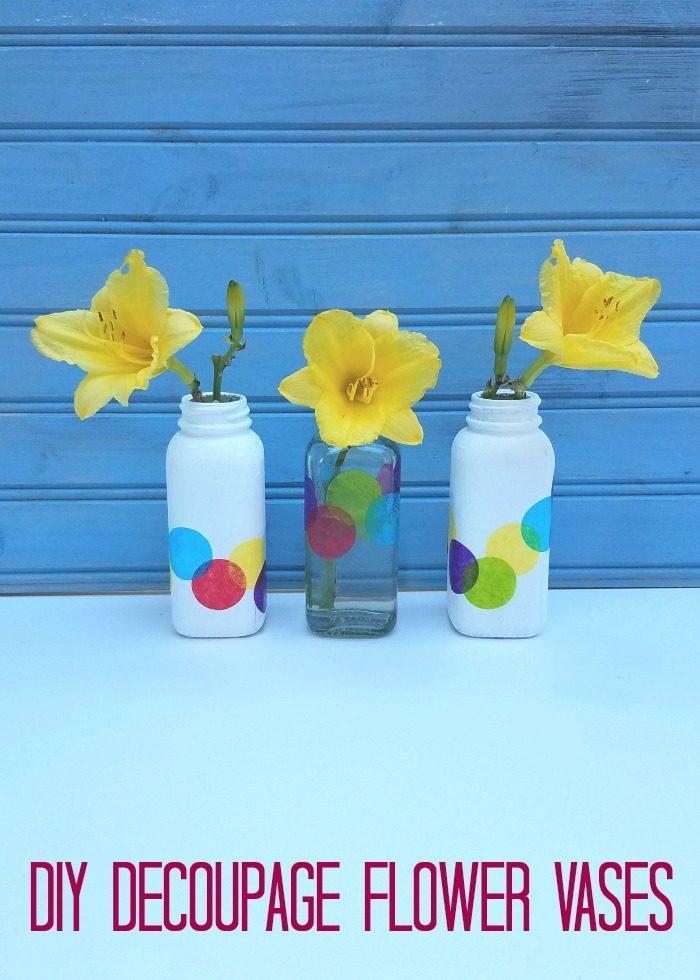 DIY Decoupage Flower Vases