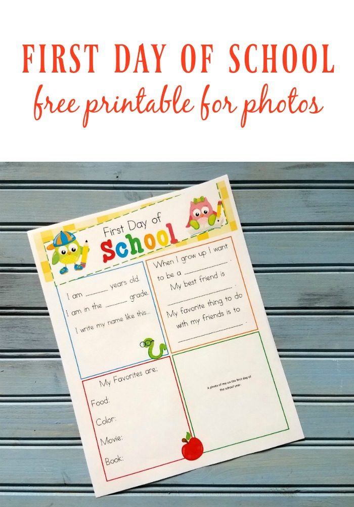 first day of school printable.