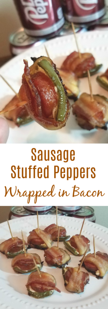 Sausage Stuffed Peppers Wrapped in Bacon