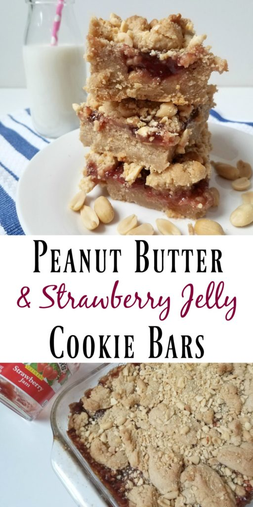 Peanut Butter & Strawberry Jelly Cookie Bars
