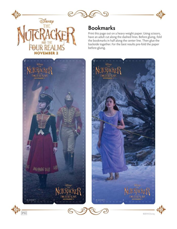 The Nutcracker and the Fours Realms printable bookmarks