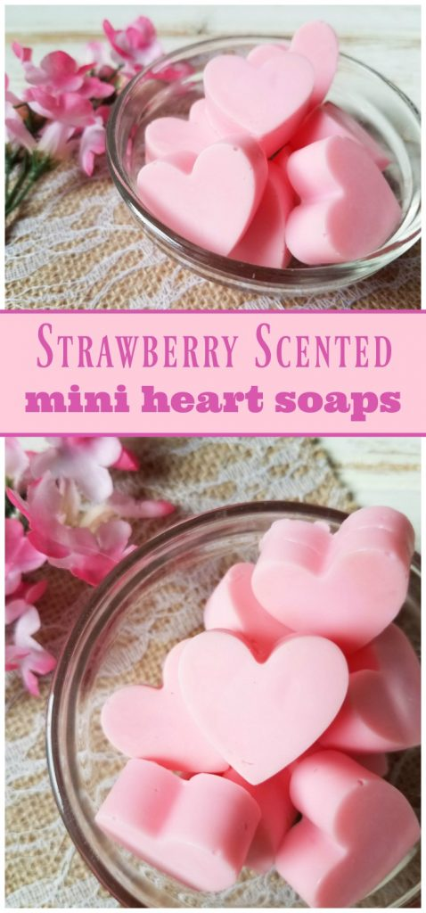 Homemade strawberry scented mini heart soaps