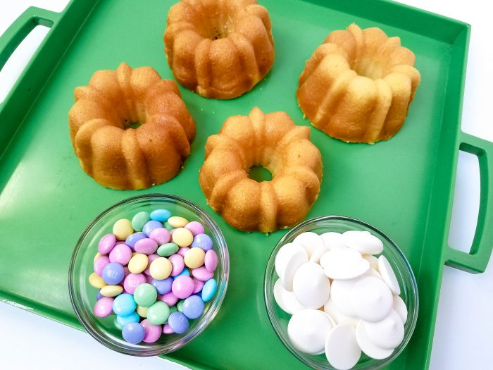 Easter M&Ms mini bundt cake recipes from cake mix
