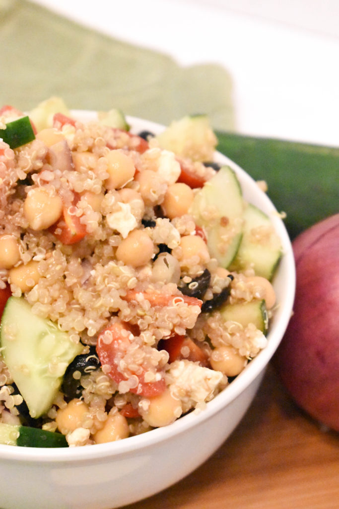 Mediterranean quinoa salad with feta and olives