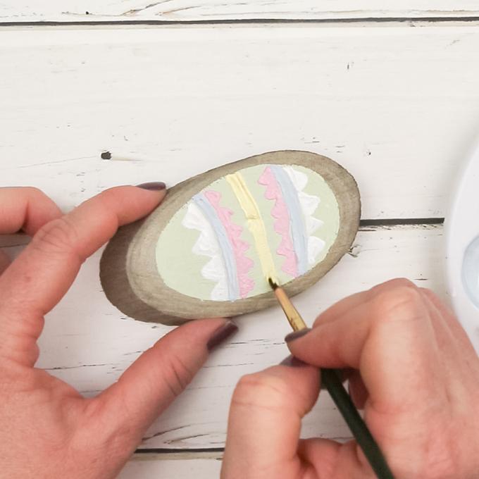 Easter DIY Painted Egg Wood Slices