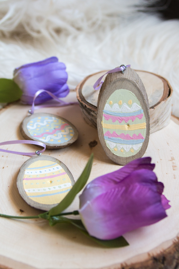 Easter DIY Painted Egg Wood Slices