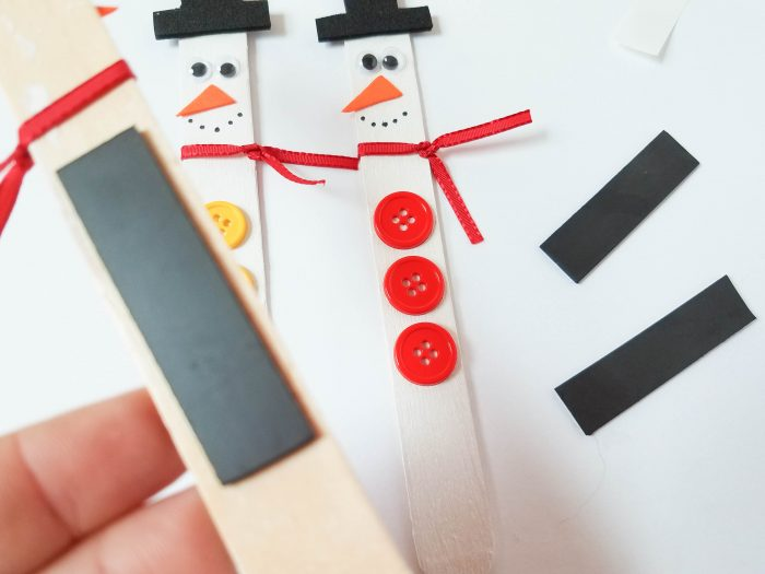 adding magnet to back of snowman
