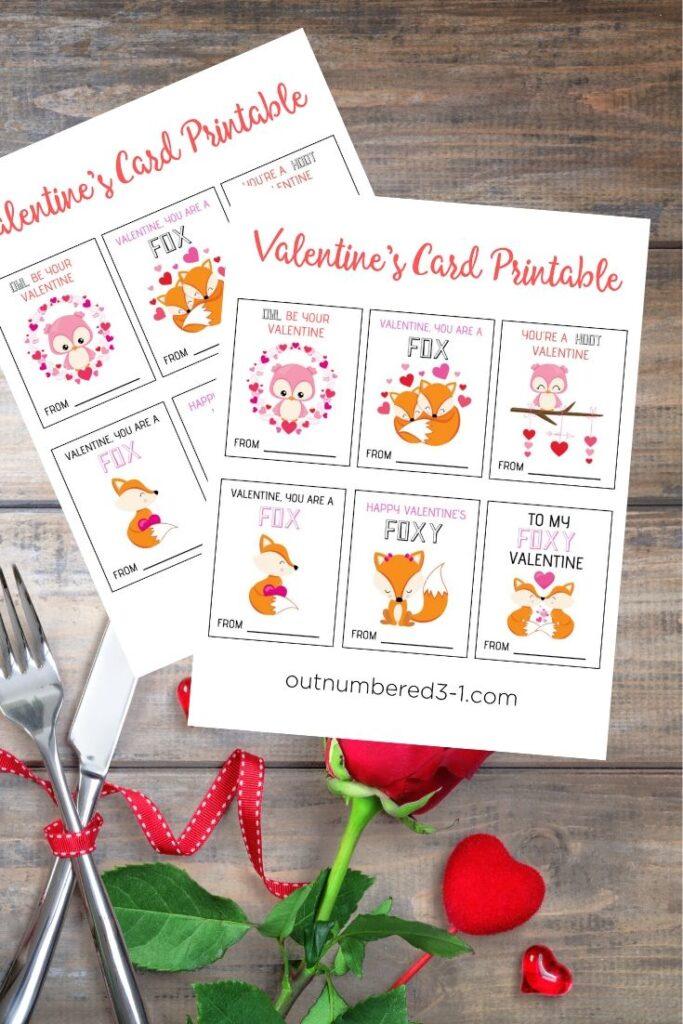 Fox & Owl Valentines Card Printable