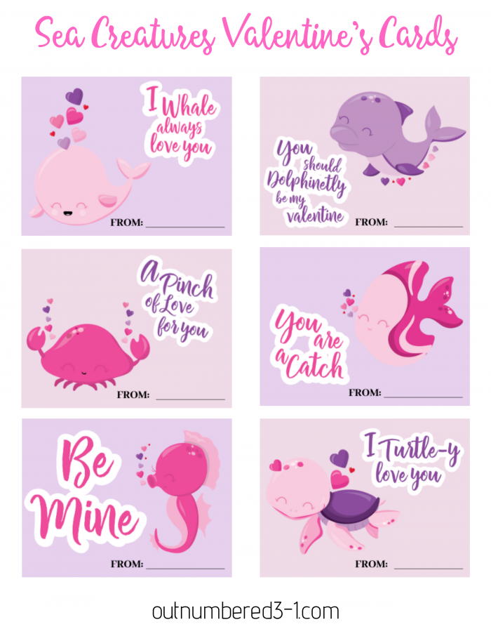 Printable Sea Creatures Valentines