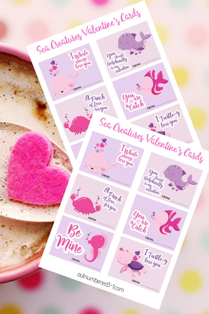 FREE Printable Sea Creatures Valentines