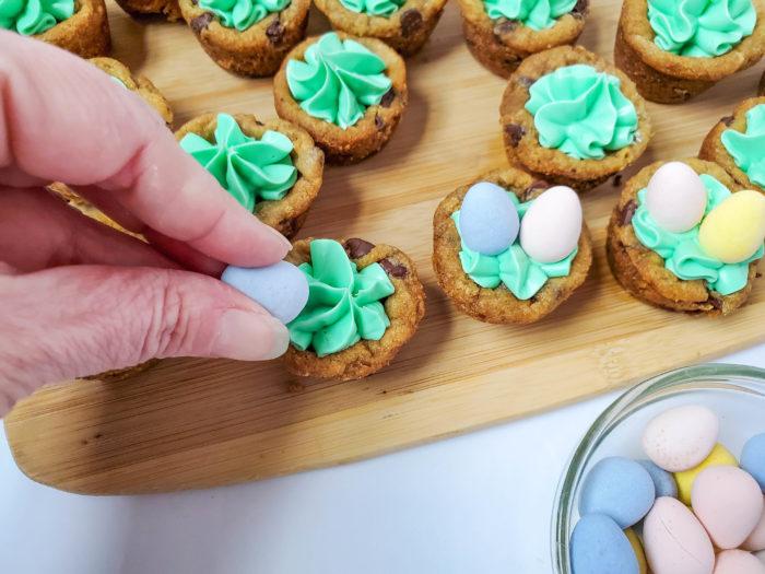 adding cadbury mini eggs to cookies
