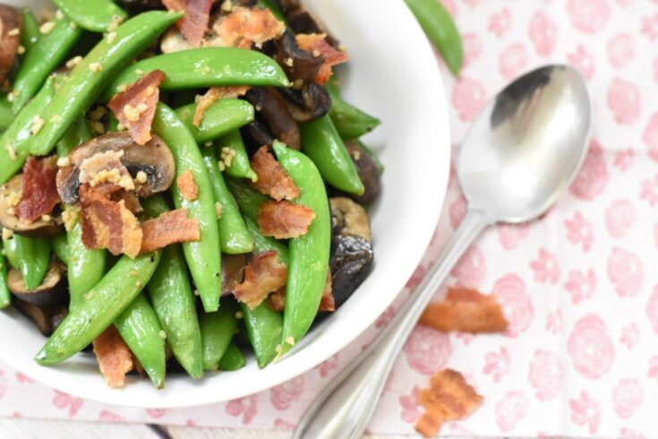 Roasted Snap Peas & Mushrooms - Momma Lew