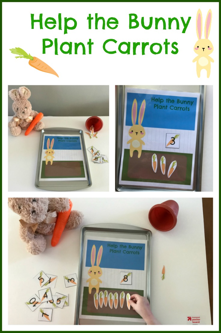 Spring Math for #Preschoolers: Help the Bunny Plant Carrots